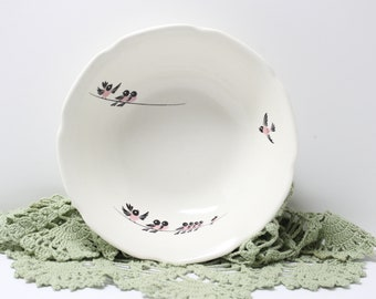 Vintage Ceramic Bowl with Pink Painted Birds on a Wire