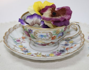 Schumann Germany Demitasse Floral Porcelain Cup and Saucer with Gold Trim Garland