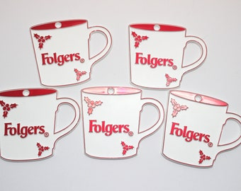 Folgers Cup Christmas Ornaments Set of 5 White