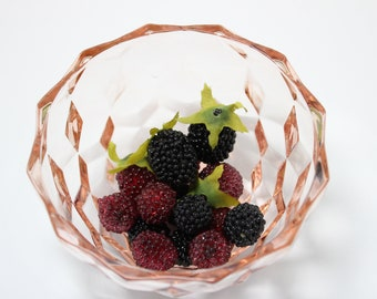 Pink Glass Bowl with Cube Design Pattern Small with Beaded Berries
