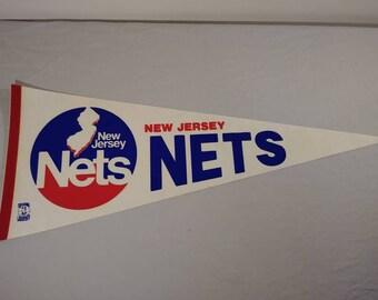 956e6ec677a Vintage NBA New Jersey Nets Pennant Banner Flag