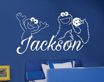 Cookie Monster Elmo Decal  - Child's Custom Name