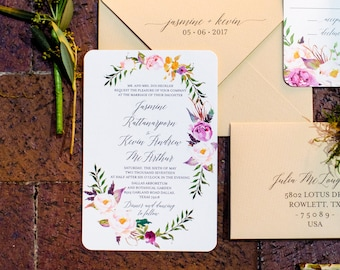 Bohemian Outdoor Wedding Invitation Set, Belly Band, Calligraphy, Wedding Invites, Invitations, Floral Wedding, Wedding Stationery, Greenery