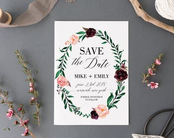 Printable Save the Date, Card Template,  Wedding Save-the-Date, Floral Watercolor, Wedding Announcement, Postcard, Engagement #MF001