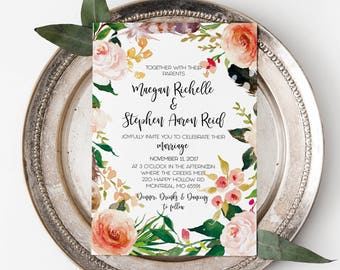 Rustic Wedding Invitation Template, Printable Bohemian Wedding Invitation Suite, Floral Watercolor Wedding Invites, Outdoor Wedding, Boho
