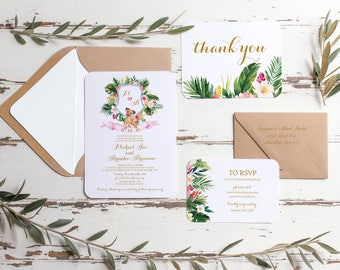 Destination Wedding Invitation Suite, Printable Wedding Invites, Tropical Wedding Invitations, Wedding Invite with crest and dog