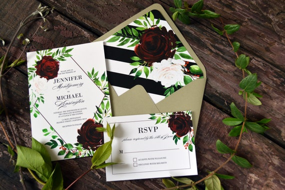 Printable Wedding Invitation Floral Watercolor Geometric