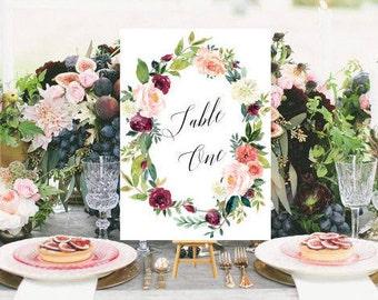 Wedding Table Numbers, Printable Wedding, Numbers 1-35, Wedding Decor, Table Number Cards,Wedding,DIY Table Numbers, Floral Watercolor #R097