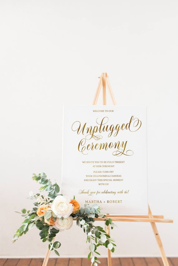 Gold Unplugged Ceremony Sign Unplugged Wedding No Cell Etsy