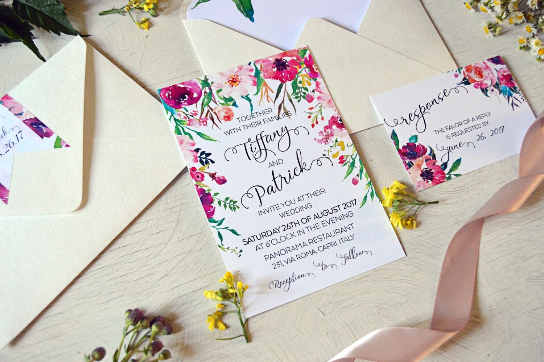 Romantische Hochzeit Einladung Vorlage böhmische Hochzeit