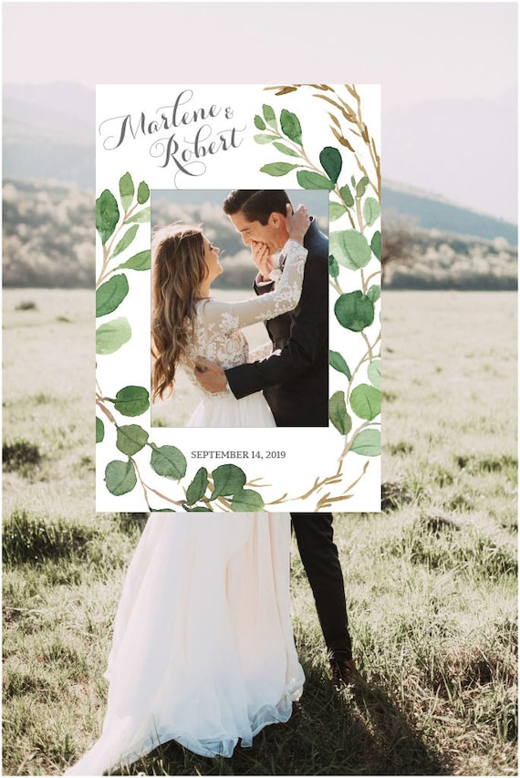 Greenery Wedding Photo Booth Frame Wedding Photo Prop Wedding Etsy