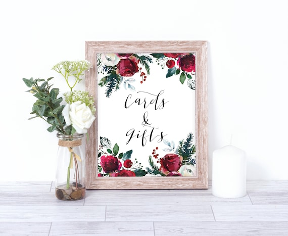Christmas Wedding Cards And Gifts Sign Wedding Sign Gift Table