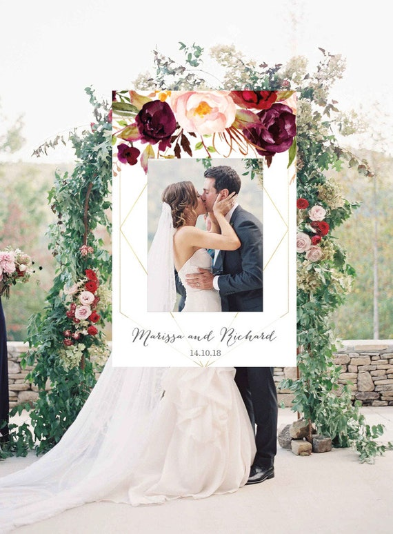 Geometric Photo Booth Frame Wedding Photo Prop Floral Wedding Etsy