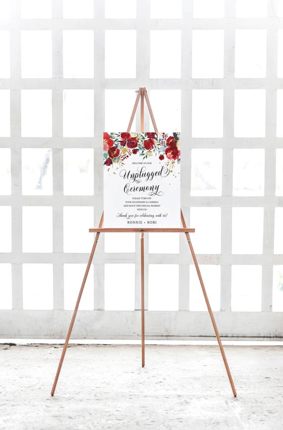 Christmas Wedding Unplugged Ceremony Sign No Cell Phone Sign