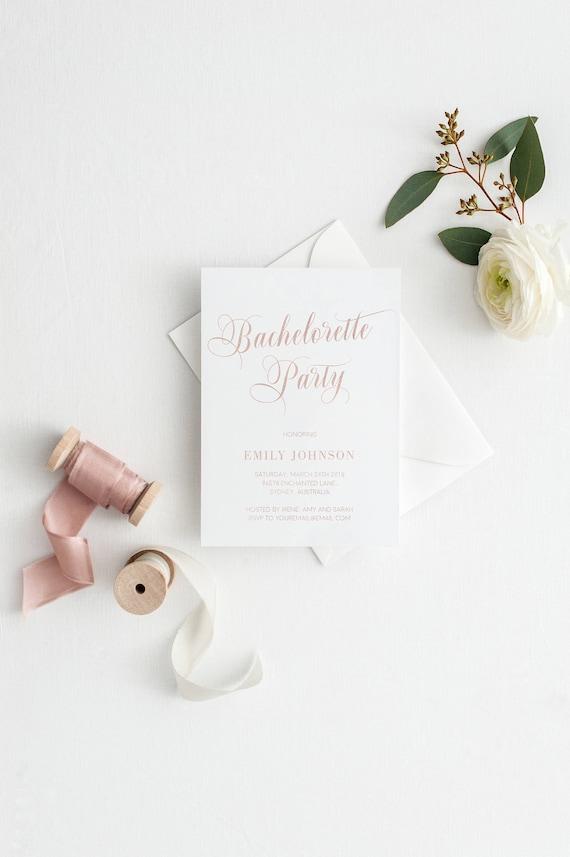rose gold bachelorette party invite bridal shower etsy