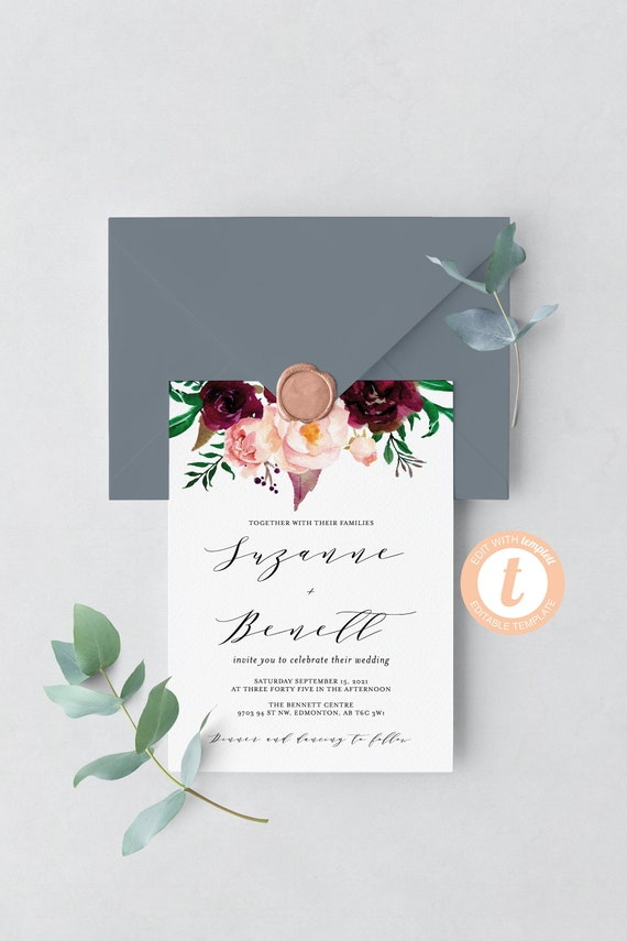 Printable Marsala Wedding Invitation Template Templett Instant