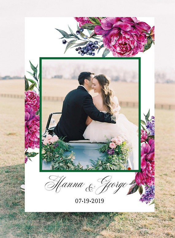 Wedding Photo Booth Frame Wedding Photo Prop Floral Wedding Etsy