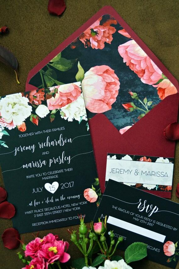 Wedding Invitation Marsala Invitations Floral Watercolor