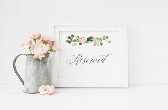 photograph relating to Printable Wedding Signage identify Printable Reserved Indicator, Card, wedding day rite decor