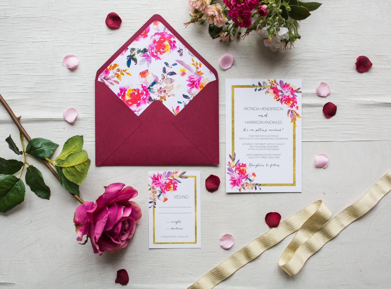Printable Wedding Invitation Marsala Modern Wedding Invites | Etsy