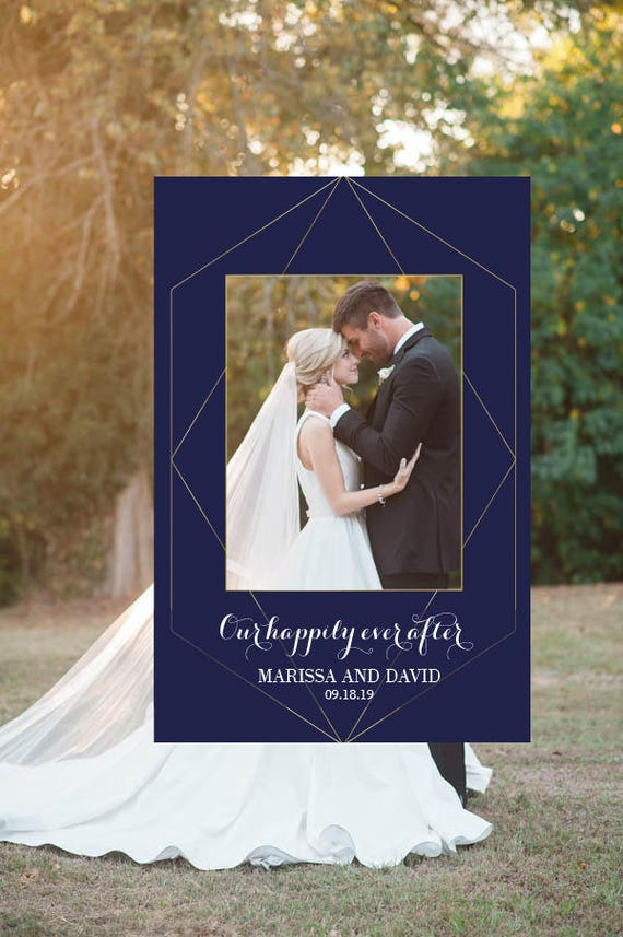 Geometric Wedding Photo Booth Frame Wedding Photo Prop Navy Etsy