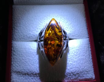 SALE Vintage Amber and Silver Ring