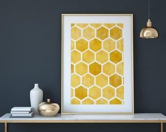 Bee Print, Bee Art, Honeycomb Wall Art, Modern Kitchen Decor, Yellow Wall  Art, Nature Print, Honey Wall Decor, Bee Nursery, Honey Bee