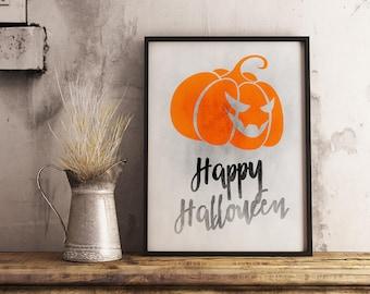 Halloween printable decor, wall art, halloween print, quote print, wall print, halloween decorations, pumpkin poster, grunge print
