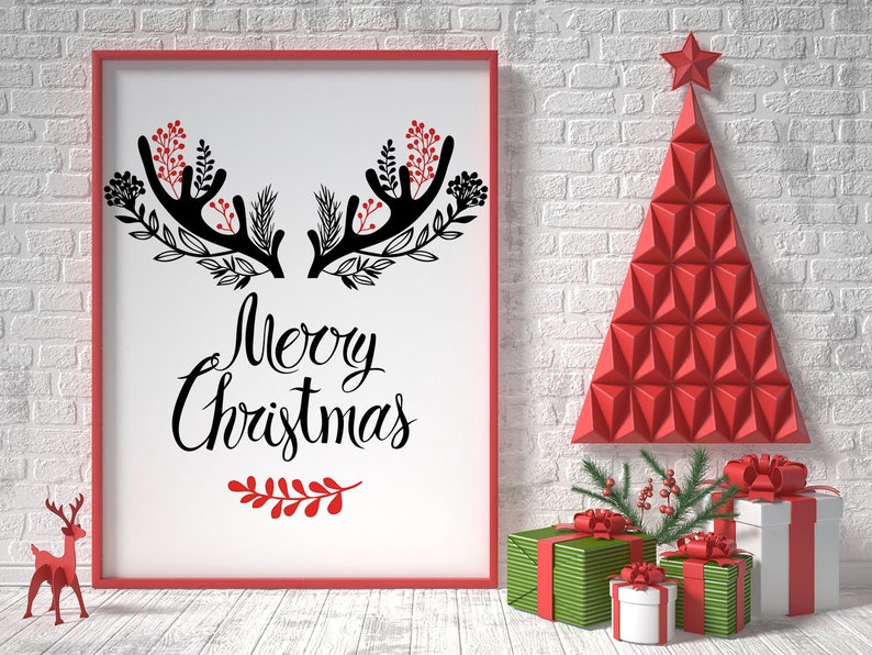 photograph about Merry Christmas Sign Printable referred to as Merry Xmas indication, xmas printable, revolutionary xmas wall artwork decor, xmas decorations, reindeer xmas, family vacation decor
