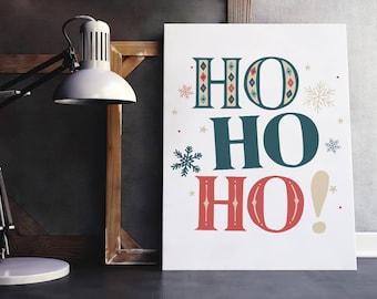 Vintage christmas printable decor, ho, ho, ho, christmas sign, holiday typography decor, modern holiday decor, christmas decorations, xmas