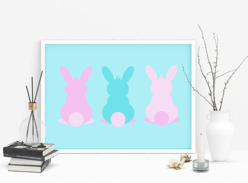 graphic regarding Printable Easter Bunny identified as Easter printable Easter bunny print obtain inside of pastel colours, easter decor, small children area decor, bunny print, easter wall artwork, easter indicator