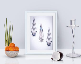 Feather print, feather art, gallery wall print, modern wall decor, feathers printable wall art, digital print download, nature print
