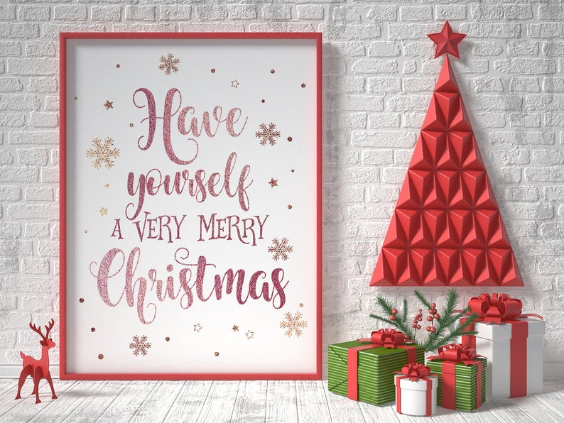 photo regarding Christmas Printable Decorations referred to as Rose gold xmas printable decor, include by yourself a fairly merry xmas, xmas indicator, rose gold decor, innovative getaway decor, christmas