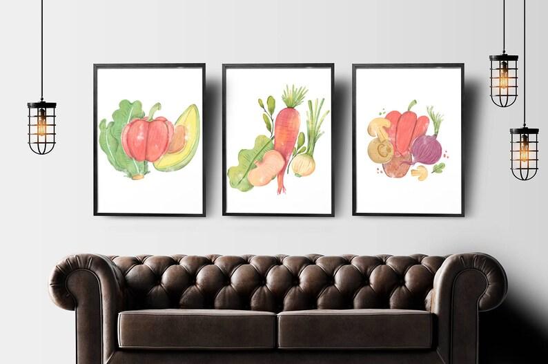 Stampe Arredo Cucina : Insieme di verdure di stampe arte della parete cucina cibo etsy