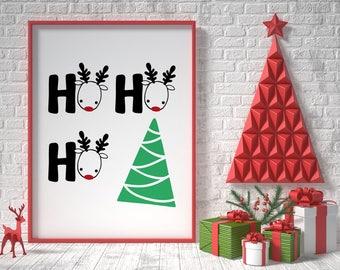 Christmas printable decor, ho ho ho, christmas sign, holiday typography decor, modern holiday decor, christmas decorations, christmas tree