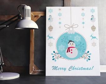Christmas printable decor, Merry Christmas print, printable christmas art, holiday decor, christmas decoration, snowman print