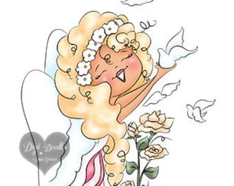 Angel Doves Digi Doodles Angel Digi Stamp
