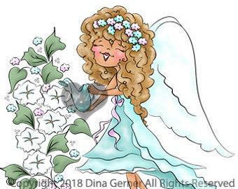 Lailah Merry Moonflower Digi Doodles Fairy Digi Stamp