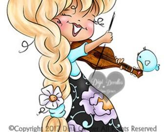 Violinist Janie Digi Stamp Instant Download Digital Stamp by Digi Doodle Studios