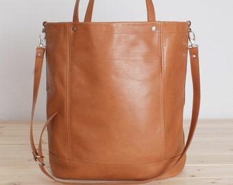 Large leather shopper cognac, XXL shopper, large leather bag, brown shoulder bag