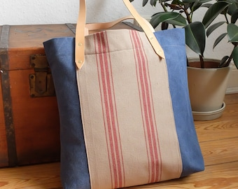 Bag Striped, Canvas Tote, Carrying Bag, Shopper, Leather Handle, Blue Beige Red, Stripes