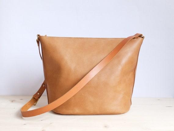 e1ff43754b Leather bag cognac shoulder bag leather bucket bag