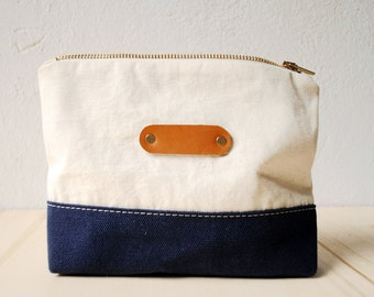Cosmetic bag CANVAS SUMMER | Ocean, Zipper Bag, Make-up Bag, Necessaire, Blue White, Maritime, Cotton, Gift
