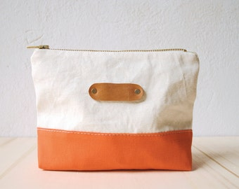 Cosmetic pomade canvas SUMMER | Coral, zippered poare, make-up bag, red, white, leather, gift