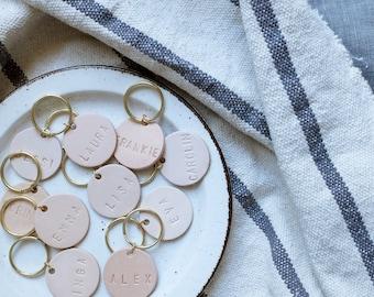 Leather keychain, customizable, personalized, name, round leather pendant, keyring, nude, black, gift