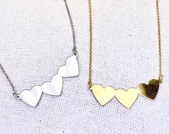 Necklace engraving, 3 hearts together, silver925, rhodium-plated, 24K - gold-plated, personalized, handmade