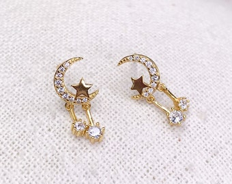 Earrings / stud earrings, crescent moon, real silver 925, gold plated with hanging star zirconia