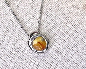 Necklace with pendant, real silver 925, 750 gold plated, raw opals, handcrafted, sealed with cast resin