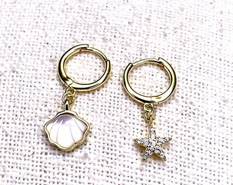 Earrings hoops, real silver 925, gold plated, star zirconia and shell with mother-of-pearl, jewelry, stud earrings, earrings