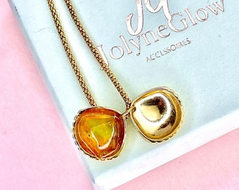 Necklace with raw opal, shell pendant, silver 925, gold-plated, gift for her, opals, multi-colored, rainbow-colored